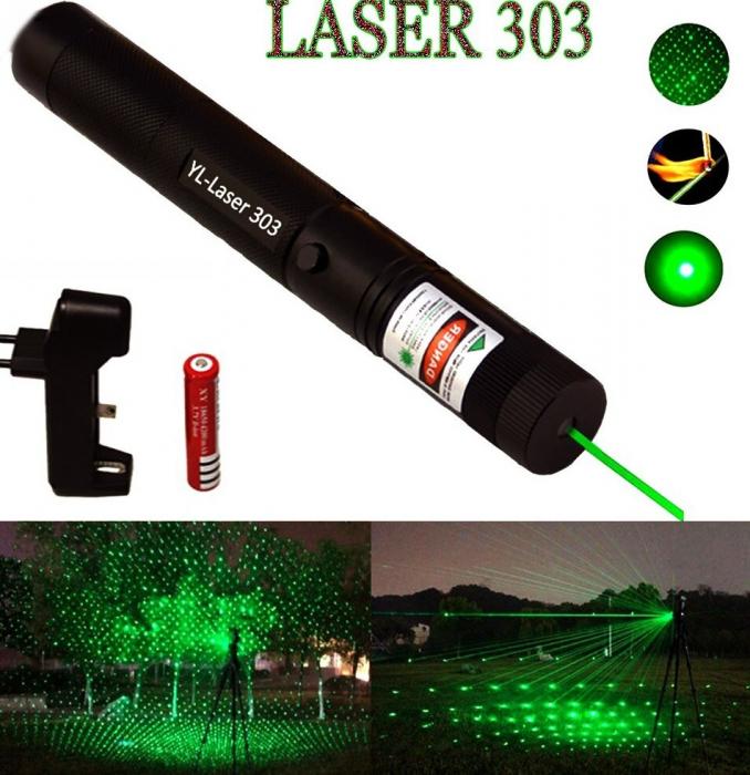 Laser pointer verde putere 1000 mW cu acumulator si incarcator, YL-Laser 303 [1]