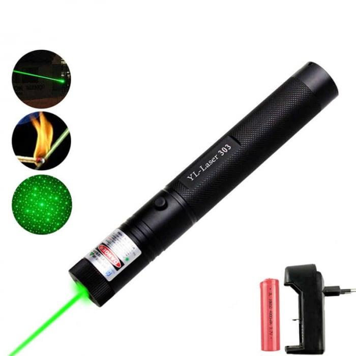 Laser pointer verde putere 1000 mW cu acumulator si incarcator, YL-Laser 303 [4]