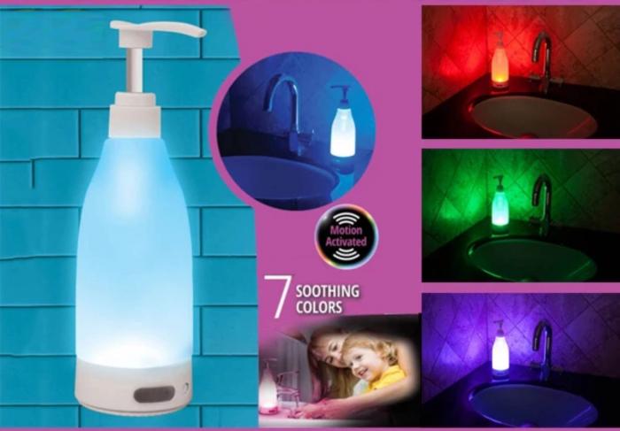 Dozator de sapun cu lumina LED si senzor de miscare, Soap Brite 400ml 2
