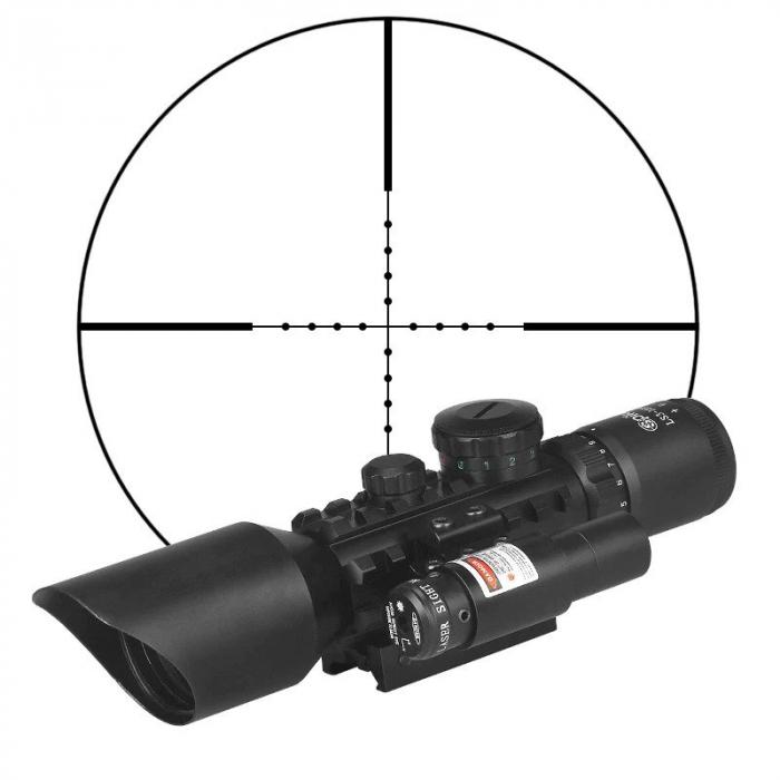 Luneta cu reticul iluminat rosu verde si laser rosu, M9 LS3-10x42E Rifle Scope [1]