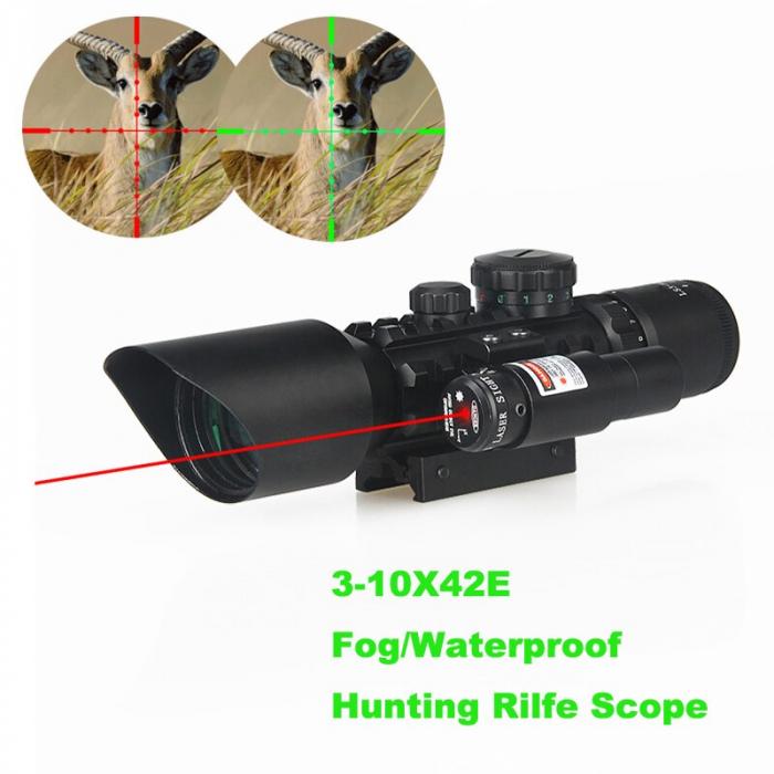 Luneta cu reticul iluminat rosu verde si laser rosu, M9 LS3-10x42E Rifle Scope [4]