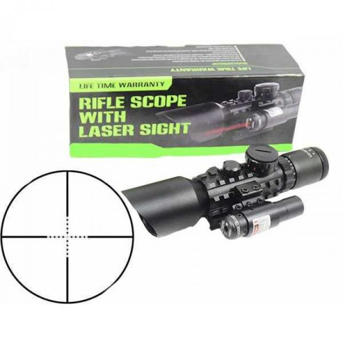 Luneta cu reticul iluminat rosu verde si laser rosu, M9 LS3-10x42E Rifle Scope [5]