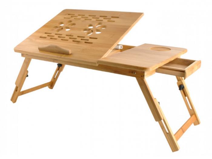 Masuta pliabila laptop din lemn de bambus cu 2 coolere si sertar [0]