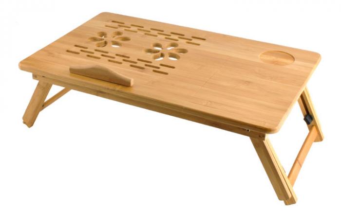 Masuta pliabila laptop din lemn de bambus cu 2 coolere si sertar [1]