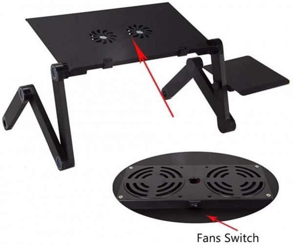 Masuta pliabila si reglabila pentru laptop cu 2 ventilatoare T6 3