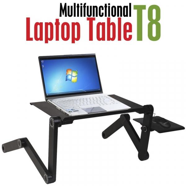 Masuta reglabila si pliabila pentru laptop T8 cu 2 ventilatoare incluse 0