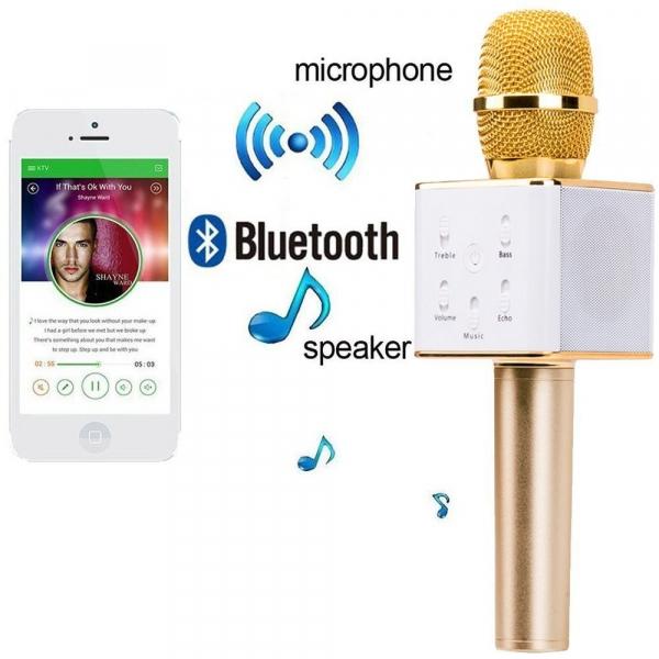 Microfon wireless pentru karaoke cu boxe si bluetooth incorporat 0