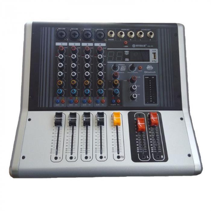Mixer amplificat profesional WVNGR KA-40, cu 4 canale, 4 intrari microfon si cititor USB [0]