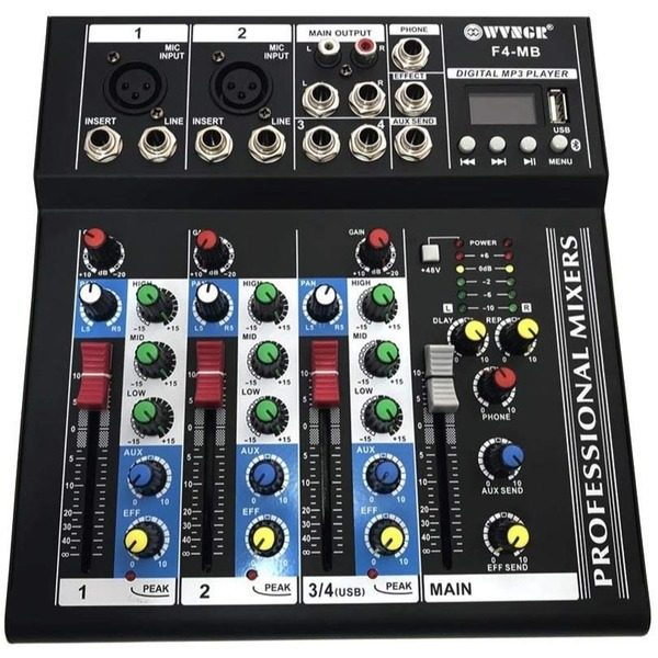 Mixer audio digital profesional fara amplificare cu 4 canale si Bluetooth WVNGR F4-MB 0