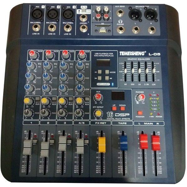 Mixer audio profesional fara amplificare Temeisheng L-05 cu USB si egalizator 0