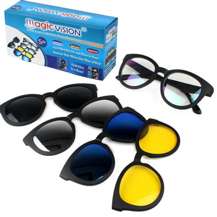 Ochelari de soare magnetici 5 in 1 Magic Vision, cu lentile interschimbabile [0]