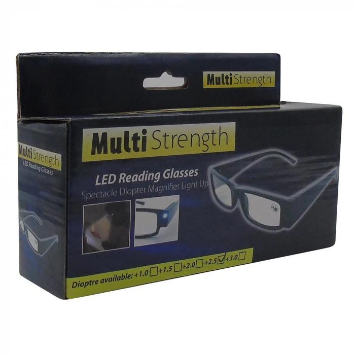 Ochelari pentru citit dotati cu 2 LEDuri si dioptrii +2.00,Multi Strength [4]
