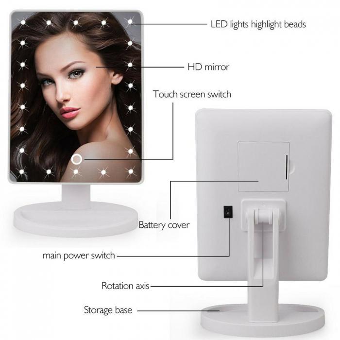 Oglinda cosmetica iluminata cu 22 LED Make Up touch 4