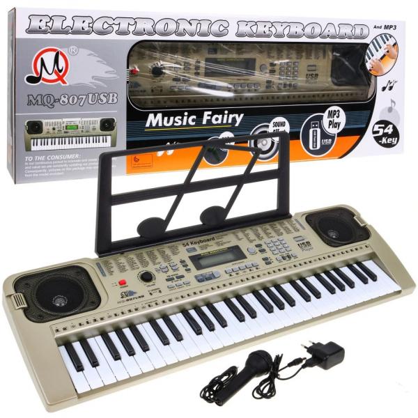 Orga electronica cu 54 clape MQ-807USB si boxe, microfon,Usb Stick Mp3 Player 0