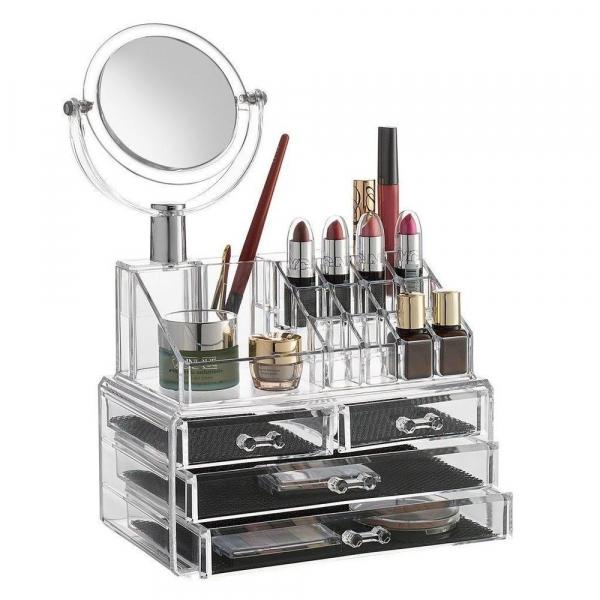 Organizator cosmetice din acril cu 4 sertare si oglinda 0