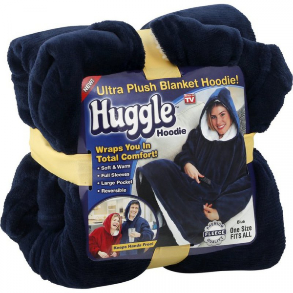 Patura cu maneci stil hanorac si gluga Huggle Hoodie 0
