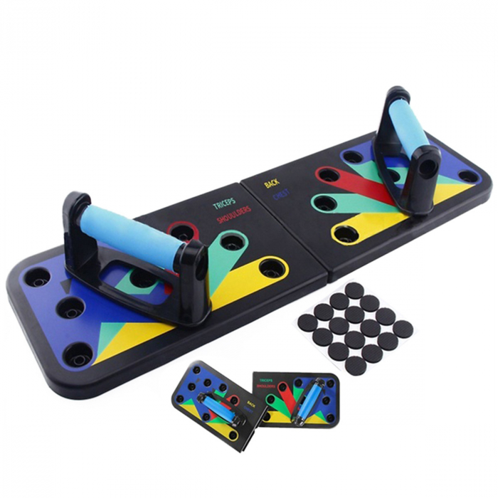 Placa pentru flotari pe baza de culori, cu manere, pentru piept, umeri, spate si triceps 1