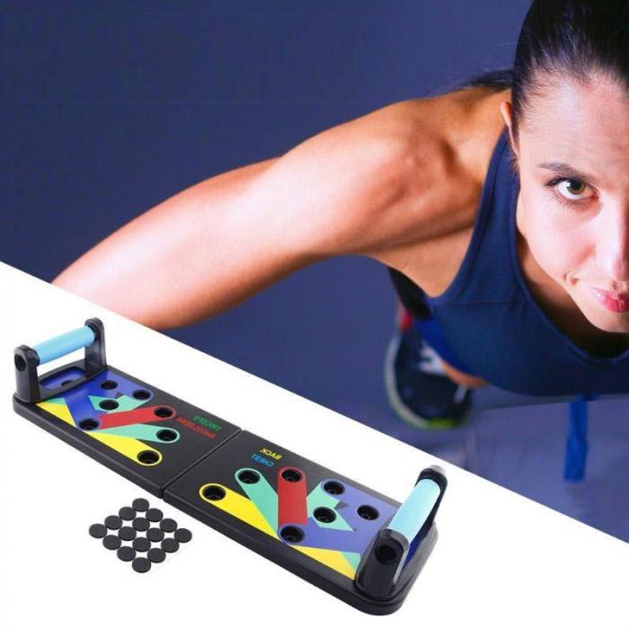Placa pentru flotari pe baza de culori, cu manere, pentru piept, umeri, spate si triceps 4