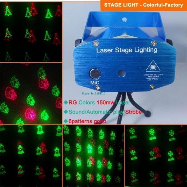 Proiector laser 6 figurine de craciun stroboscop music 0