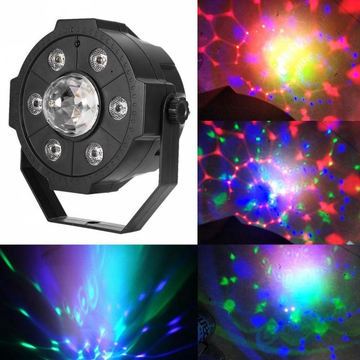 Proiector Jocuri Lumini Disco cu Telecomandă, Muzică USB și Bluetooth, 6+1 LED RGB [1]