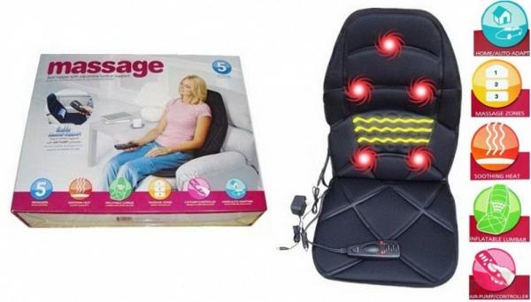 Saltea masaj cu perna de aer si incalzire pentru masina sau acasa 0