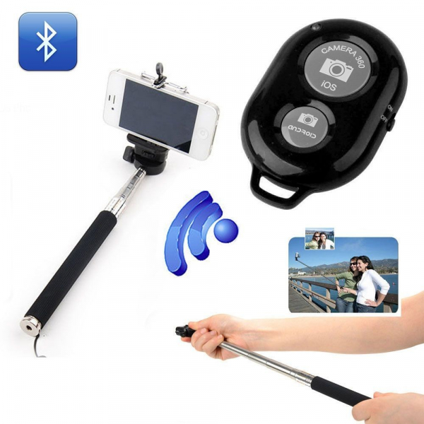 Selfie stick 110 cm cu telecomanda wireless bluetooth [0]