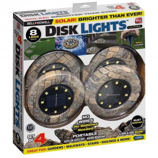 Set 4 lampi solare cu aspect de piatra si 8 LED-uri,inclus senzor de lumina 3