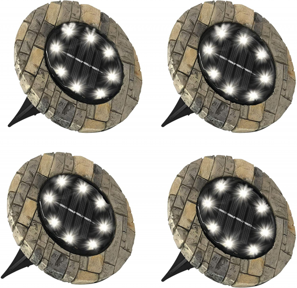 Set 4 lampi solare cu aspect de piatra si 8 LED-uri,inclus senzor de lumina 0