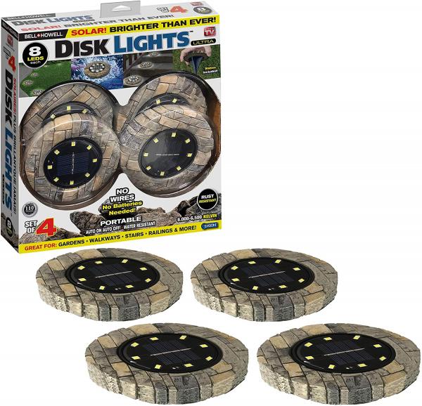 Set 4 lampi solare cu aspect de piatra si 8 LED-uri,inclus senzor de lumina 1