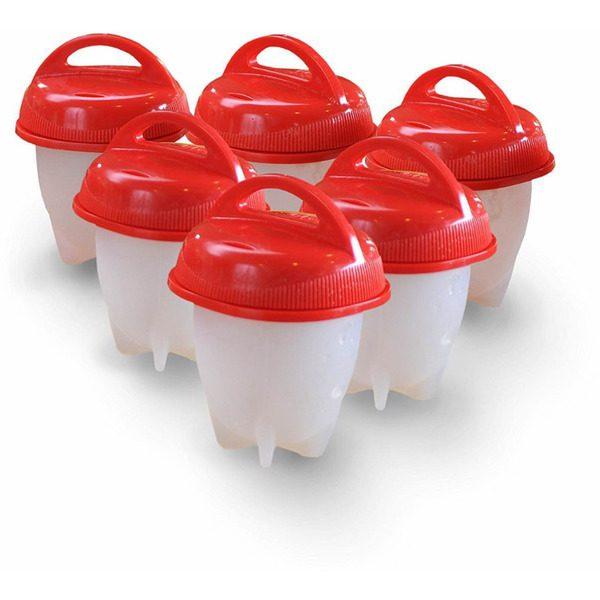 Set 6 forme de silicon cu capac pentru fiert oua,Egg Boil Cooker 0