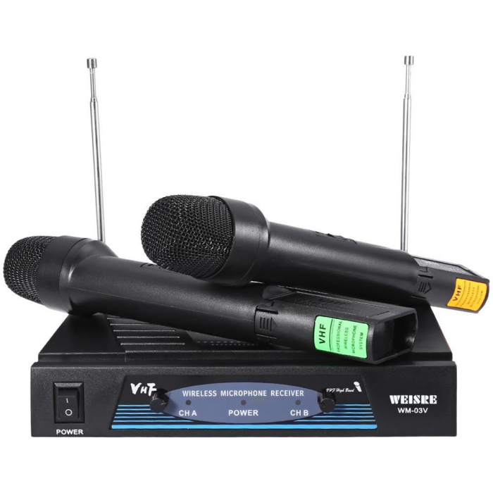 Set 2 microfoane profesionale wireless cu receiver, VHF Weisre WM-03V 0