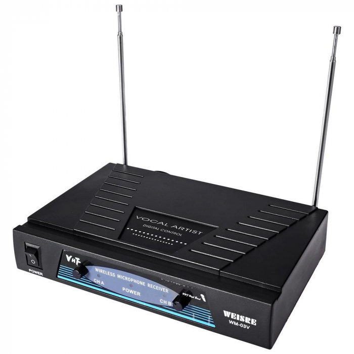Set 2 microfoane profesionale wireless cu receiver, VHF Weisre WM-03V 2