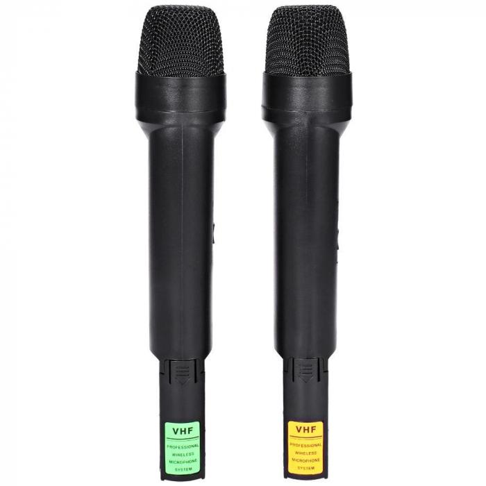 Set 2 microfoane profesionale wireless cu receiver, VHF Weisre WM-03V 5