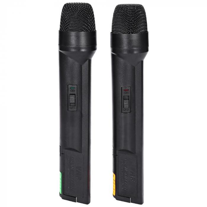 Set 2 microfoane profesionale wireless cu receiver, VHF Weisre WM-03V 3