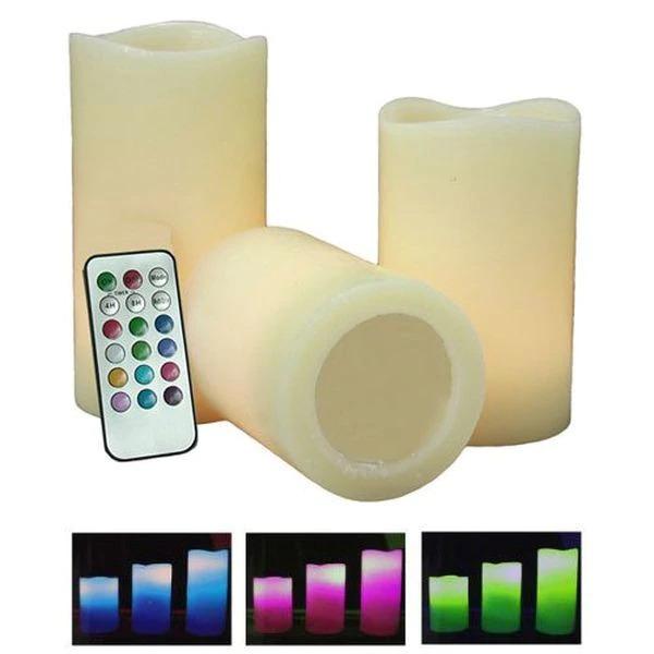 Set 3 lumanari din ceara cu LED electronice 12 culori si telecomanda 0