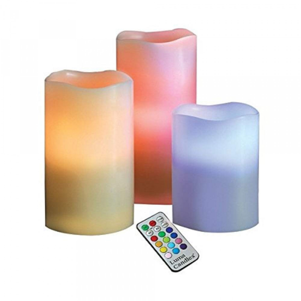 Set 3 lumanari din ceara cu LED electronice 12 culori si telecomanda 3