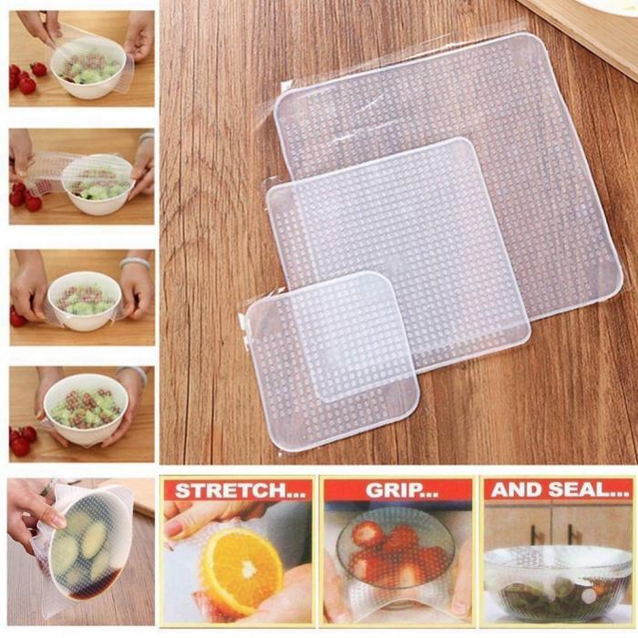 Set 4 folii pentru alimente din silicon reutilizabile, Stretch and Fresh [3]