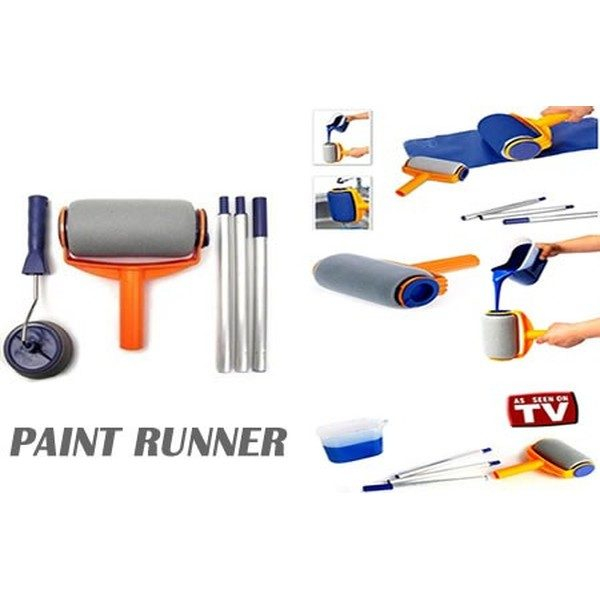 Trafalet pentru vopsit cu brat extensibil, rola pentru colturi si recipient, Paint Runner [0]
