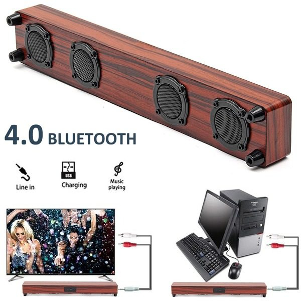 Soundbar Bluetooth difuzor Bass unitate dublă diafragmă cu microfon Wireless TV si imprimeu lemn 0