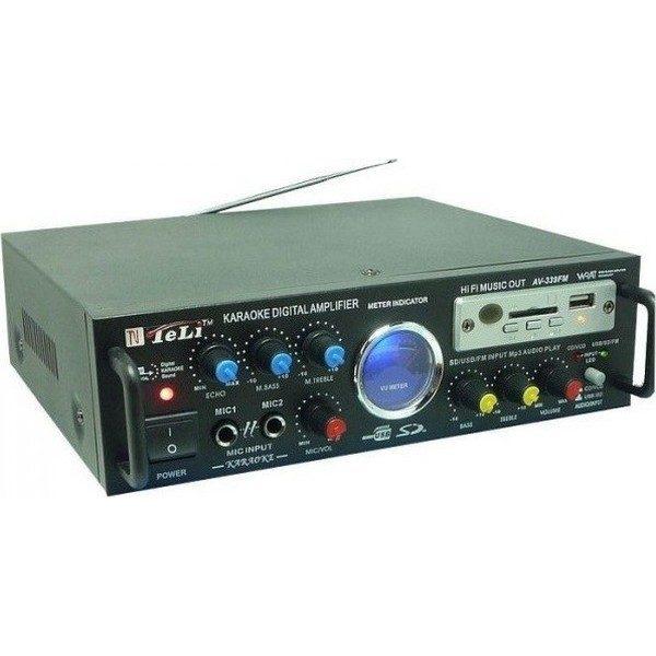 Statie amplificare karaoke cu MP3 si radio AV-339FM, stereo, alimentare 12 v si 220 V 0