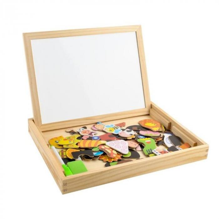 Tablita magnetica cu 2 fete si accesorii cu puzzle magnetice [0]