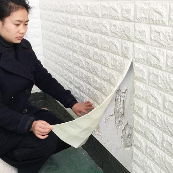 Tapet 3D Alb design perete modern din caramida in relief,77x70 cm 3