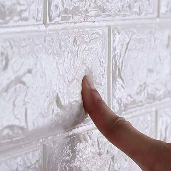 Tapet 3D Alb design perete modern din caramida in relief,77x70 cm 2