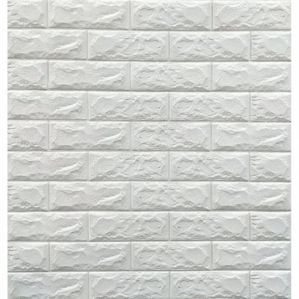 Tapet 3D Alb design perete modern din caramida in relief,77x70 cm 0
