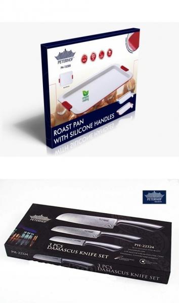 Tava din otel carbon + Set 3 cutite inox Peterhof Pachet promotional  [1]