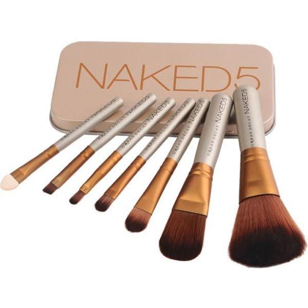 Trusa set 7 pensule pentru machiaj profesional Make-up Naked 5 0