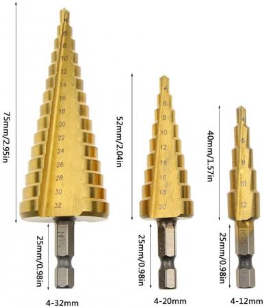 Burghiu conic metal in trepte, spiral conic 4-12 mm [1]