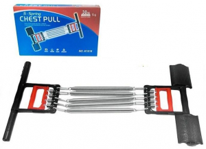 Extensor fitness multifunctional cu arcuri metalice pentru brate, piept si picioare5
