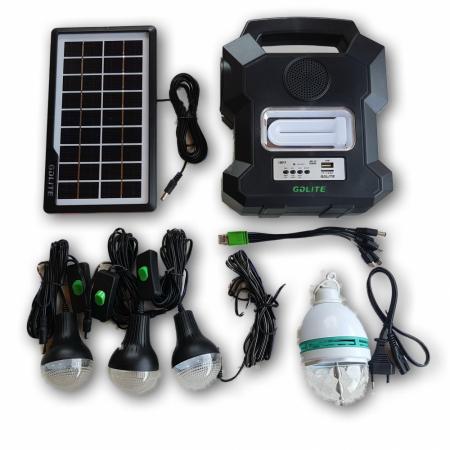 Kit solar portabil Gdlite GD-1000A, cu USB, Bluetooth, Radio FM, MP3 Player si 4 becuri incluse [1]