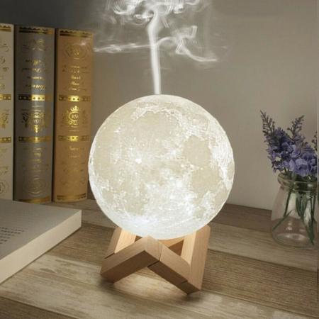 Umidificator lampa veghe, Luna Moon 3D cu suport de lemn [0]